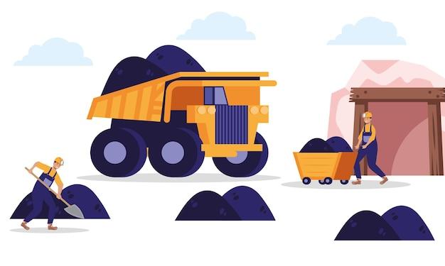 Minatori e scena della miniera di dumper