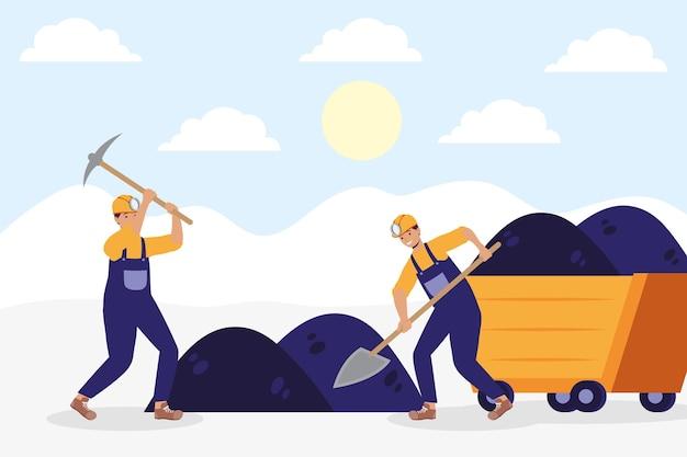 Minatori che lavorano nei personaggi delle miniere di carbone