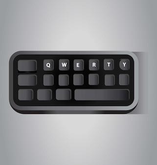 Mini tastiera del computer qwerty nera vista isometrica della tastiera piccola