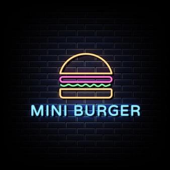 Insegna al neon mini hamburger.
