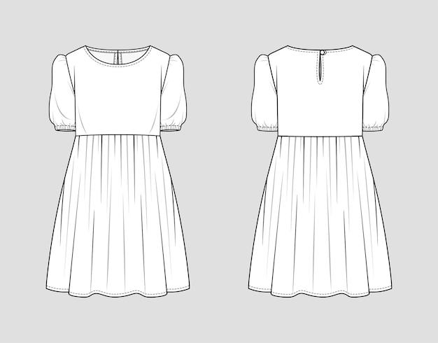 Mini abito. schizzo di moda. illustrazione. disegno tecnico piatto. modello di mockup.