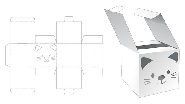 Mini scatola ribaltabile con modello fustellato a forma di gatto