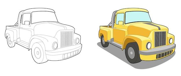 Pagina da colorare di mini camion dei cartoni animati per bambini