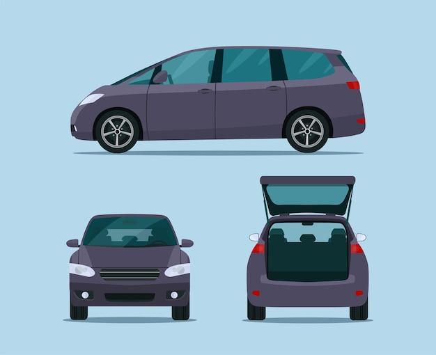 Set di auto mini van. vista laterale, anteriore e posteriore.