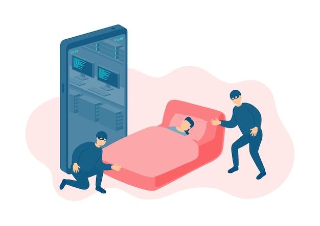 Minuscole persone in miniatura dormono vittima di un hacker online del crimine informatico