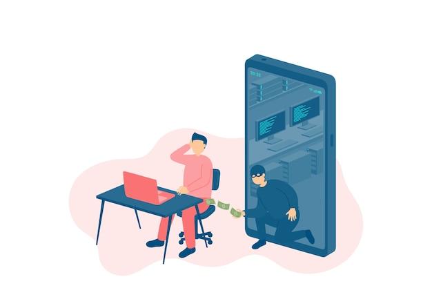 Minuscole persone in miniatura con laptop vittima di un hacker online di crimini informatici