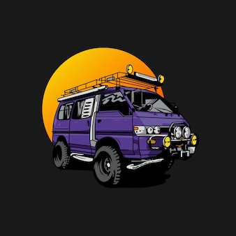 Illustrazione di minibus per il logo della mascotte