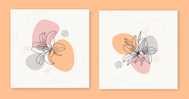 Disegno a tratteggio floreale botanico astratto minimale in stile art line