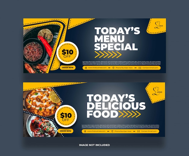 Banner di promozione post sui social media del ristorante di cibo astratto minimo