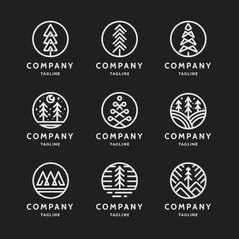 Logo dell'albero di pino astratto minimo
