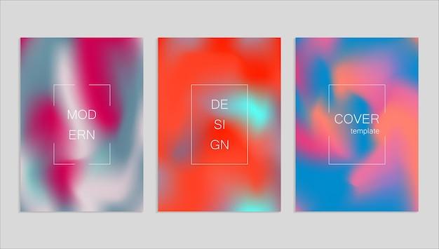 Modello di progettazione di copertina fuid astratto minimo di vettore. sfondo sfumato di olografia. modelli vettoriali per cartelloni, banner, volantini, presentazioni e report