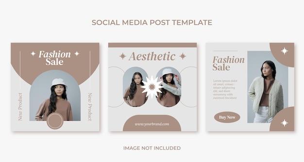 Modello di post instagram per social media di moda estetica minima