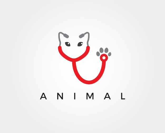 Modello di logo minimo della clinica per animali