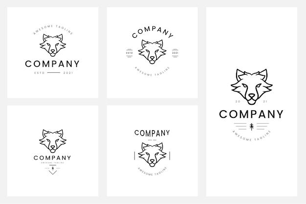 Set di badge con logo animale minimo