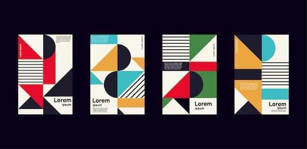 Rapporto annuale minimo della collezione di design geometrico dai colori vivaci