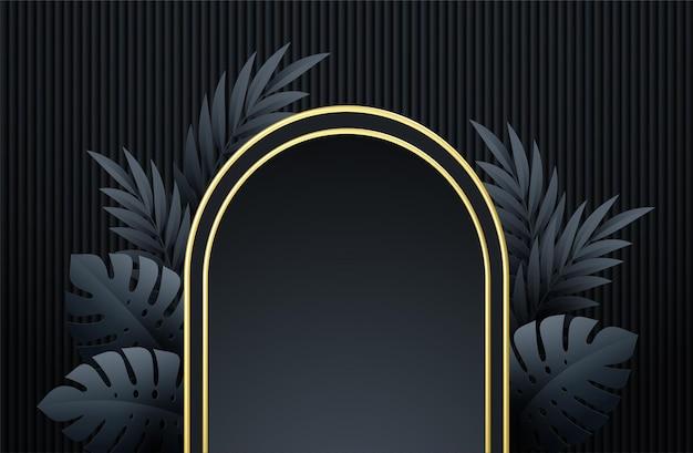 Minima scena nera con forme geometriche e foglie di palma. vetrina del prodotto