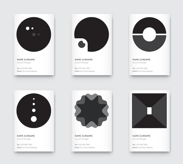 Set di biglietti da visita verticali alla moda grafica in bianco e nero minimo