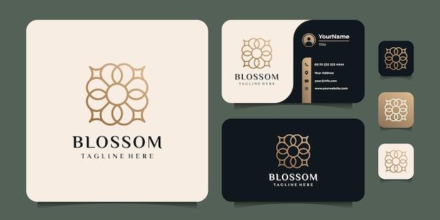 Logo del monogramma del fiore minimal blossom