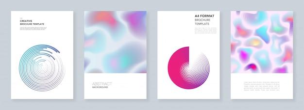 Modelli di brochure minimal con forme fluide dinamiche, cerchi colorati in stile minimalista. modelli per flyer, depliant, brochure, report, presentazione. minimo, illustrazione.