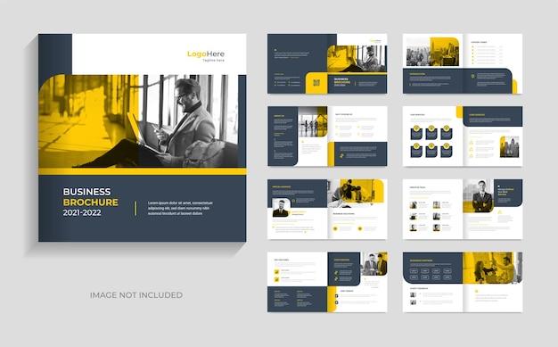 Modello di brochure aziendale minimale design moderno forme gialle vettore premium