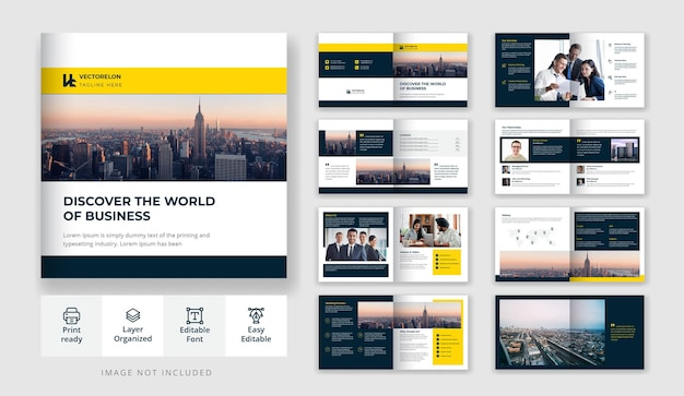 Design minimale per brochure aziendale o quadrato aziendale da 16 pagine