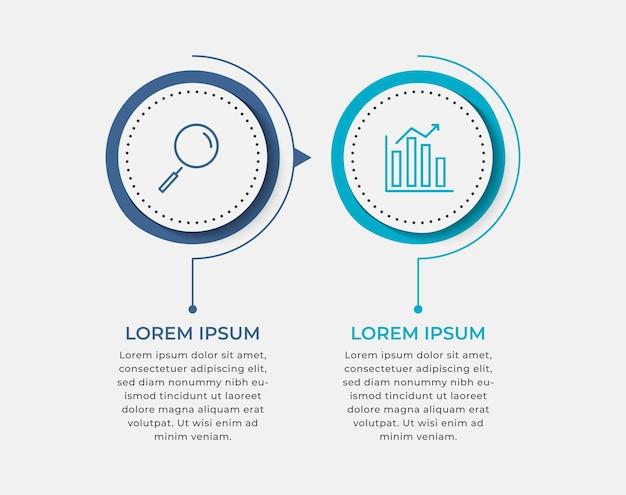 Modello di infografica aziendale minimo. timeline con 2 passaggi, opzioni.
