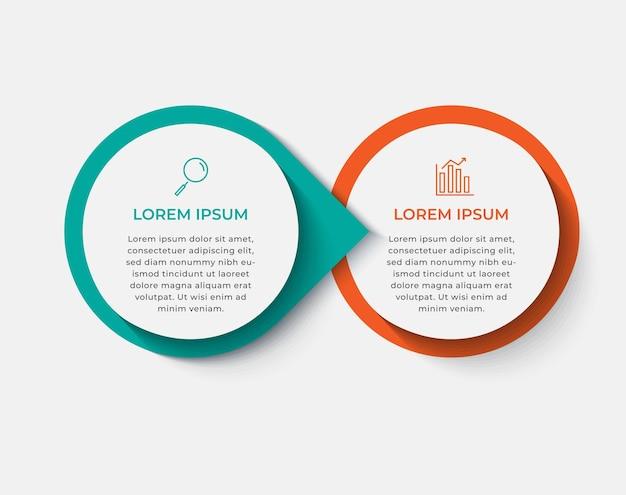 Modello di infografica aziendale minimo. timeline con 2 passaggi, opzioni. Vettore Premium