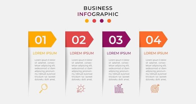 Modello di infografica aziendale minimo. timeline con 4 passaggi.