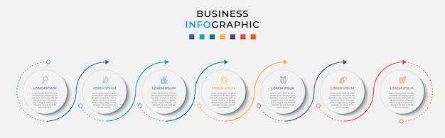 Modello di infografica aziendale minimo. timeline con 7 sette passaggi, opzioni e icone di marketing