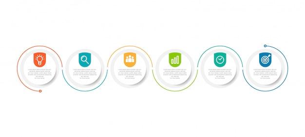 Modello minimo di infographics di affari con 6 punti
