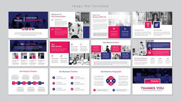 Modello di presentazione di diapositive aziendali minime premium vector.