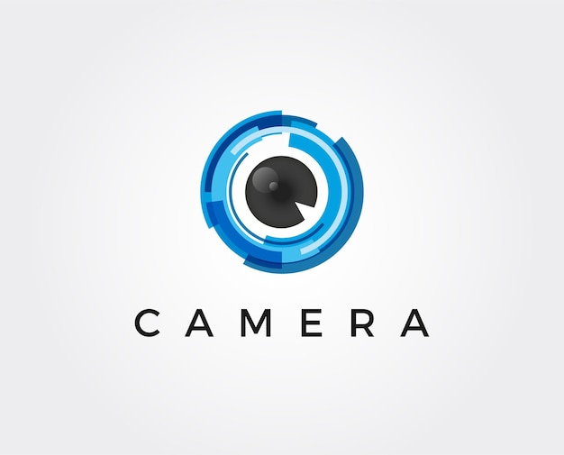 Illustrazione minima di vettore del modello di logo dell'obiettivo della fotocamera