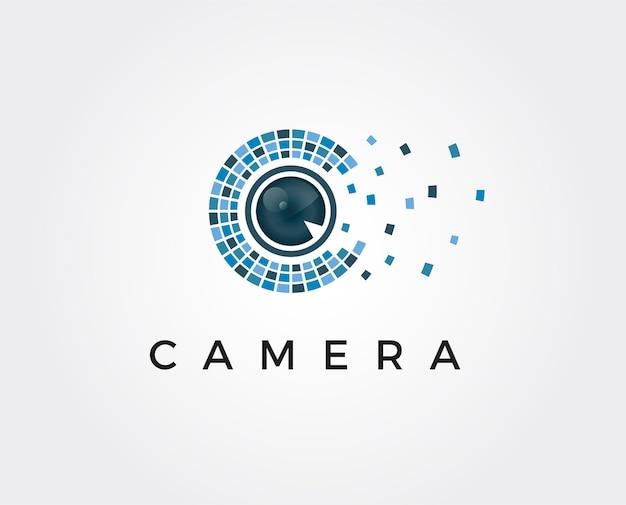 Modello di logo minimo dell'obiettivo della fotocamera