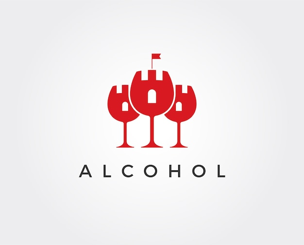 Modello di logo del vino del castello minimo