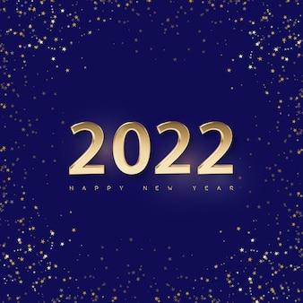 Sfondo minimale di natale blu brillante con numeri dorati decorativi 2022 e saluto