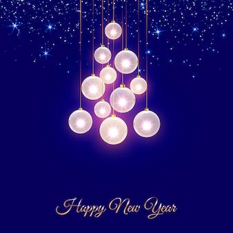 Sfondo di lucentezza blu notte di natale minimo con palline di natale decorative e stelle dorate