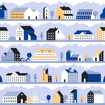 Modello di città minimale. paesaggio della città minimalista, case moderne case e sfondo trasparente paesaggio urbano geometrico