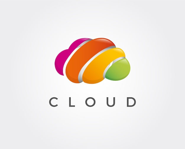 Illustrazione minima del modello di logo della nuvola