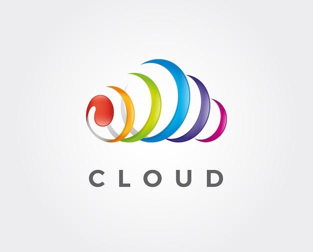 Modello di logo minimo della nuvola