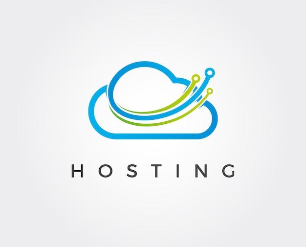 Illustrazione minima del modello di logo della tecnologia cloud