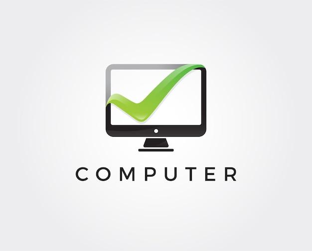 Modello minimo di logo del computer
