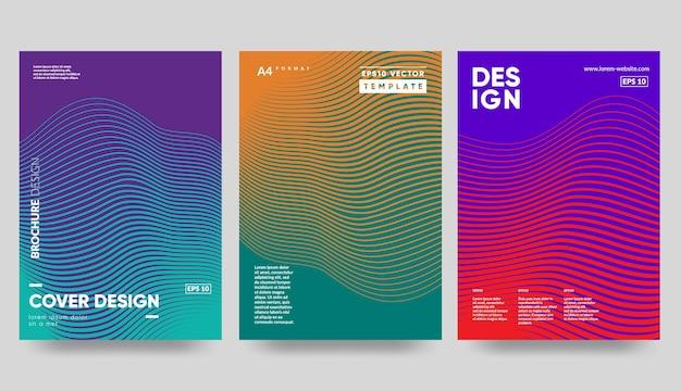 Modelli di copertina minimi. gradienti mezzitoni colorati. futuri motivi geometrici.