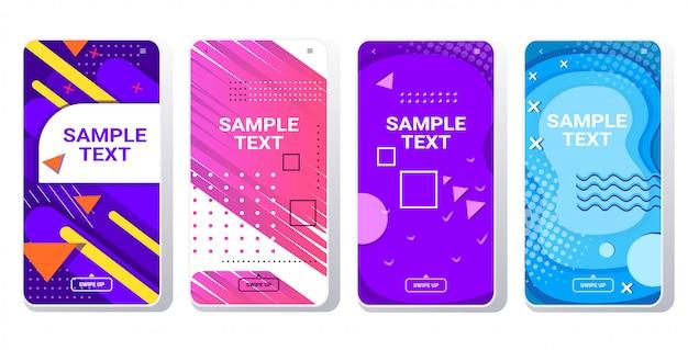 Modelli di copertina minimi per decorazione presentazione poster stile memphis sfondo astratto banner colorati schermi per smartphone set app mobile online copia spazio orizzontale