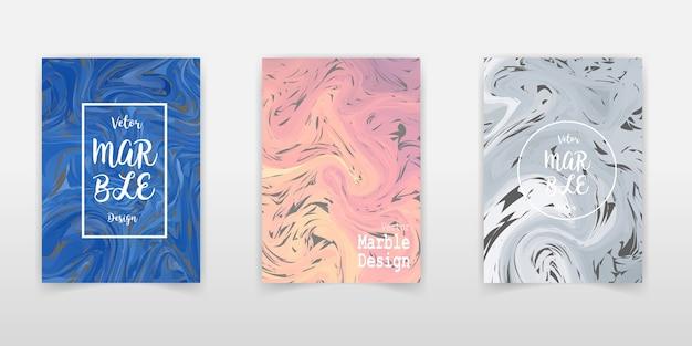Modelli di copertina minimali con trama a strisce di marmo.