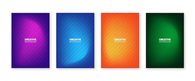 Collezione di copertine minimale. gradienti mezzitoni colorati. futuro disegno di motivi geometrici.