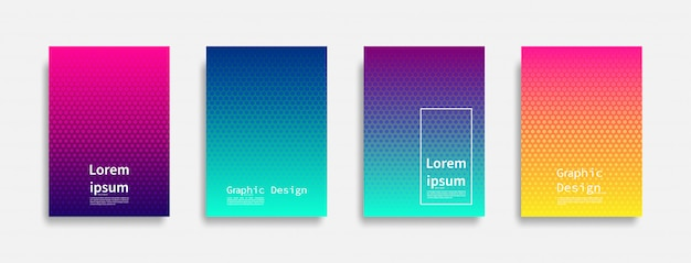 Design minimale delle copertine. design colorato con punti mezzatinta. futuri motivi geometrici.