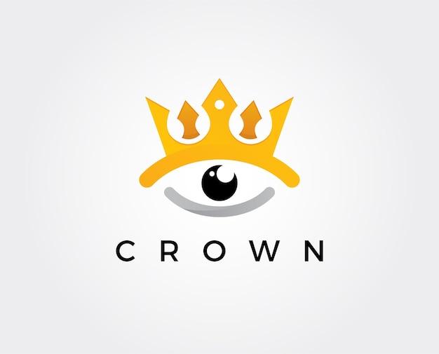 Modello di logo minimo della corona dell'occhio