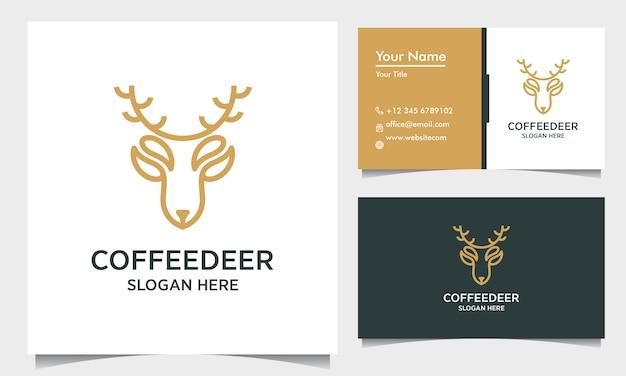 Modello di progettazione di logo di contorno di cervo minimo con biglietto da visita, ispirazione logo cervo caffè
