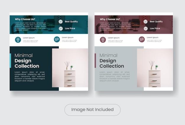 Set di banner modello di mobili collezione design minimale