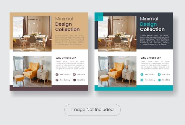 Set di modelli di banner per social media per mobili dal design minimale